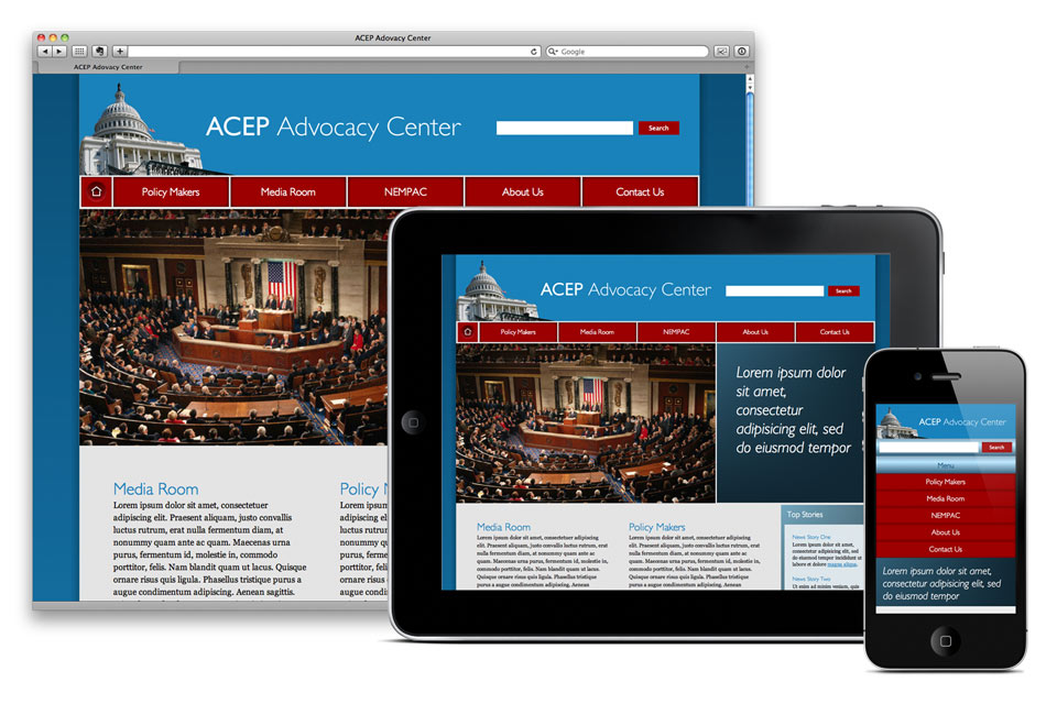 ACEP Advocacy Center Website, Mobile Web App, Responsive Web Design, XHTML, CSS, Javascript, jQuery, Website Design, User Modeling