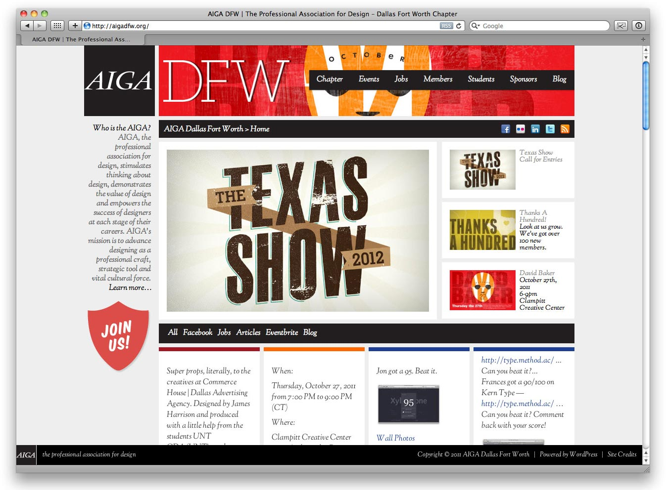 Website design and developement for AIGA DFW. Art Direction, Design, HTML/CSS Development, Wordpress implementation